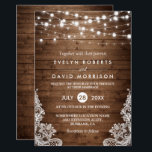 """Rustic Country Wood Twinkle Lights Lace Wedding Card<br><div class=""""desc"""">Celebrate your Wedding Invite with this &quot;Rustic Country Wood Twinkle Lights Lace Wedding invitation&quot; template. With our easy-to-use design tool, you can easily customize it to be uniquely yours. (1) For further customization, please click the &quot;Customize it&quot; button and use our design tool to modify this template. (2) If you...</div>"""