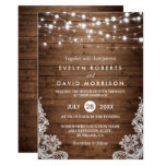 Rustic Country Wood Twinkle Lights Lace Wedding Card<br><div class='desc'>Celebrate your Wedding Invite with this &quot;Rustic Country Wood Twinkle Lights Lace Wedding invitation&quot; template. With our easy-to-use design tool, you can easily customize it to be uniquely yours. (1) For further customization, please click the &quot;Customize it&quot; button and use our design tool to modify this template. (2) If you...</div>