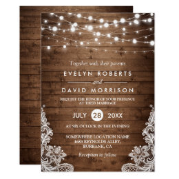 Merveilleux Rustic Country Wood Twinkle Lights Lace Wedding Card