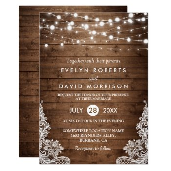 Rustic Country Wood Twinkle Lights Lace Wedding Card by CardHunter at Zazzle