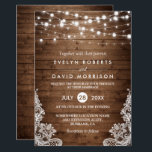 """Rustic Country Wood Twinkle Lights Lace Wedding Invitation<br><div class=""""desc"""">Celebrate your Wedding Invite with this """"Rustic Country Wood Twinkle Lights Lace Wedding invitation"""" template. With our easy-to-use design tool, you can easily customize it to be uniquely yours. (1) For further customization, please click the """"customize further"""" link and use our design tool to modify this template. (2) If you...</div>"""