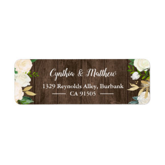 Rustic Country Wood White Gold Garden Flowers Label