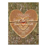 Rustic Country Wooden Heart Camo Wedding Invites (<em>$2.27</em>)