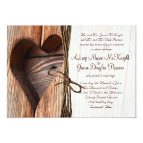 Rustic Country Wooden Heart Twine Wedding Invites 5