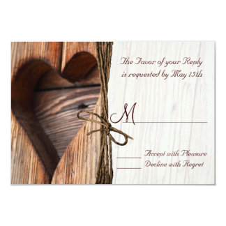 Rustic Country Wooden Heart Twine Wedding RSVP Personalized Announcement