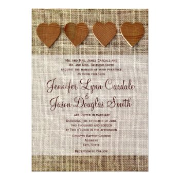 Rustic Country Wooden Hearts Burlap Wedding Invite