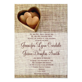 Rustic Country Wooden Hearts Burlap Wedding Invite