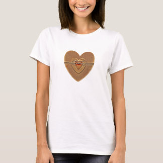 Rustic Country Wooden Hearts Twine Bow Tshirt