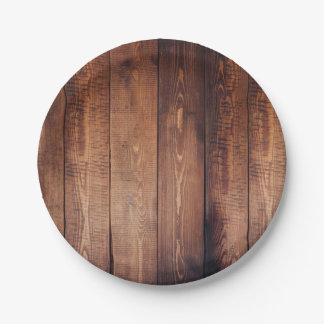 Rustic Country Wooden Planks Paper Plate