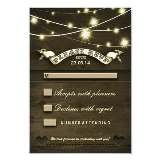 rustic country wooden wedding RSVP with lights 3.5x5 Paper Invitation Card