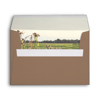 Rustic Countryside Scene Romantic Wedding Envelope