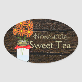 Rustic County Mason Jar Homemade Sweet Tea Oval Sticker