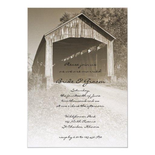 "Rustic Covered Bridge Wedding Invitation 5"" X 7"" Invitation Card"