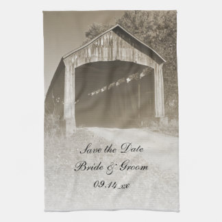Rustic Covered Bridge Wedding Save the Date Kitchen Towel