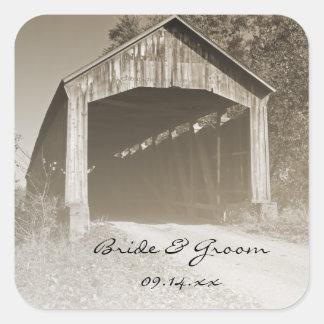 Rustic Covered Bridge Wedding Square Sticker