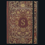 "Rustic Covers Swirling Gilding Monogram<br><div class=""desc"">The dark red background really sets off the amazing gilding on this 16th century book cover.  Add your own monogram to make this a one of a kind cover for your iPad.</div>"