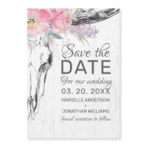 Rustic Cow Skull Blush Floral Boho Save the Date