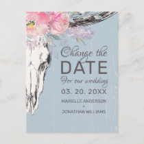 Rustic Cow Skull Blush Pink Floral Change the Date Announcement Postcard