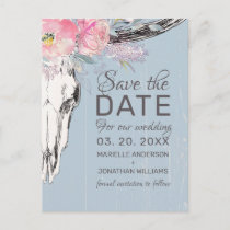Rustic Cow Skull Boho Blush Floral Save the Date Announcement Postcard