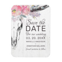Rustic Cow Skull Boho Blush Floral Save the Date Magnet