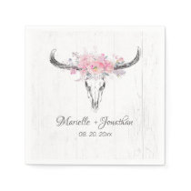 Rustic Cow Skull Boho Blush Pink Watercolor Floral Napkins