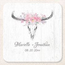 Rustic Cow Skull Boho Blush Pink Watercolor Floral Square Paper Coaster