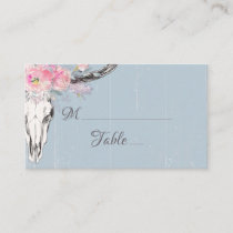 Rustic Cow Skull Boho Blush Watercolor Floral Blue Place Card