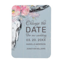 Rustic Cow Skull Boho Floral Blush Change the Date Magnet