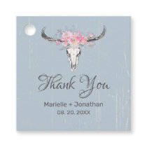 Rustic Cow Skull Boho Floral Blush Watercolor Blue Favor Tags