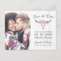 Rustic Cow Skull Boho Floral Photo Save the Date Announcement Postcard