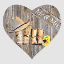 Rustic Cowboy and Cowgirl Wedding Mr and Mrs Heart Sticker