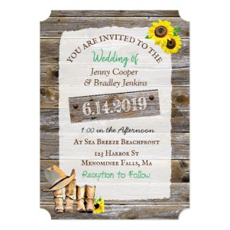 Rustic Cowboy Boots and Hat Sunflower Wedding Invitation
