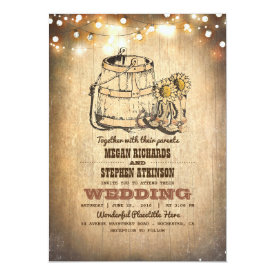 Rustic Cowboy Boots and String Lights Fall Wedding Card