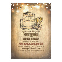 Rustic Cowboy Boots and String Lights Fall Wedding Invitation