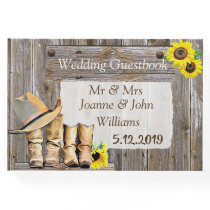 Rustic Cowboy Boots and Sunflower Wedding Guest Book