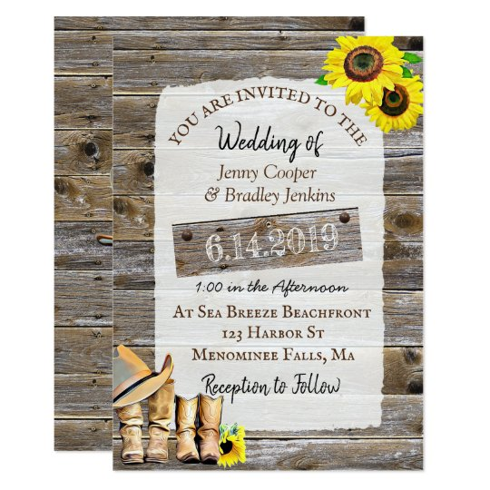 Rustic Cowboy Boots And Sunflowers Wedding Invitation