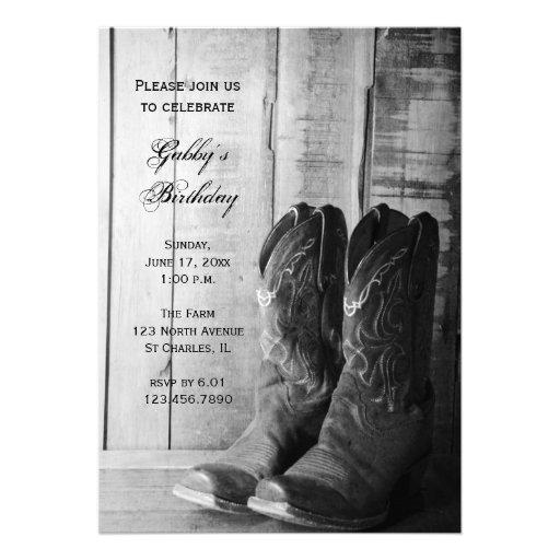 Personalized cowboy boots invitations custominvitations4u rustic cowboy boots country birthday party invite filmwisefo