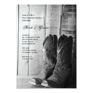 Rustic Cowboy Boots Country Post Wedding Brunch 5x7 Paper Invitation Card