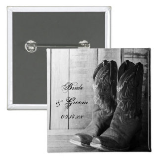 Rustic Cowboy Boots Country Wedding Button