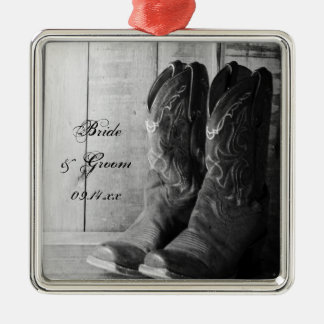 Rustic Cowboy Boots Country Wedding Square Metal Christmas Ornament