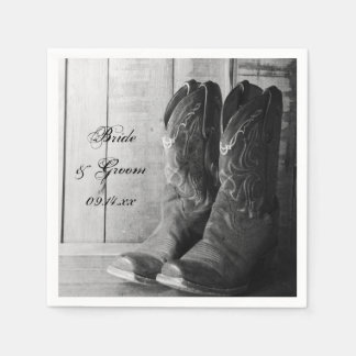 Rustic Cowboy Boots Country Wedding Paper Napkins