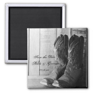 Rustic Cowboy Boots Country Wedding Save the Date 2 Inch Square Magnet