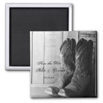 Rustic Cowboy Boots Country Wedding Save the Date Magnet