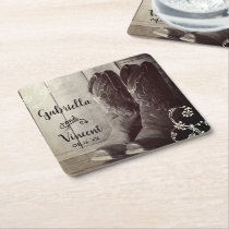 Rustic Cowboy Boots Country Western Floral Wedding Square Paper Coaster