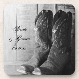 Rustic Cowboy Boots Country Western Wedding Coaster