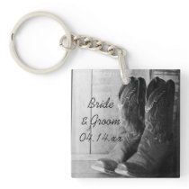Rustic Cowboy Boots Country Western Wedding Keychain
