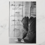 """Rustic Cowboy Boots Country Western Wedding Menu<br><div class=""""desc"""">Customize the informal yet elegant Rustic Cowboy Boots Country Western Wedding Menu with the details of the meal that you will serve at your engagement barn party, bridal shower luncheon or marriage reception dinner by adding the salad or first course, entree or second course and dessert or third course. This...</div>"""