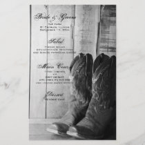 Rustic Cowboy Boots Country Western Wedding Menu