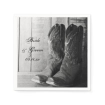 Rustic Cowboy Boots Country Western Wedding Paper Napkin
