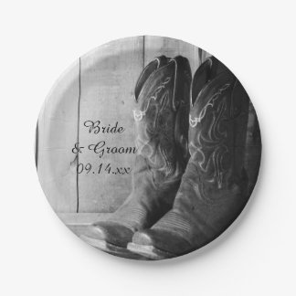 Rustic Cowboy Boots Country Western Wedding Paper Plate